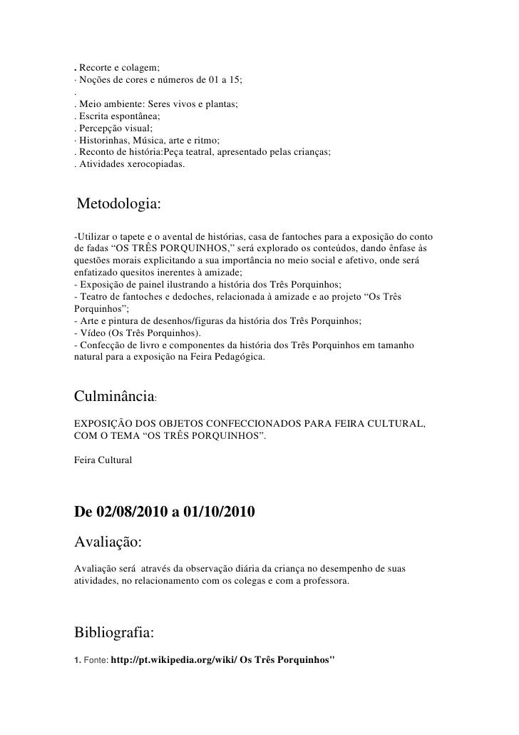 Famosos Atividades os três porquinhos - PROJETOS E PLANOS DE AULA DF95